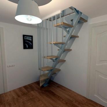 """Лестница """"Утиный шаг"""" на монокосоуре Г-образная с забежными ступенями"""