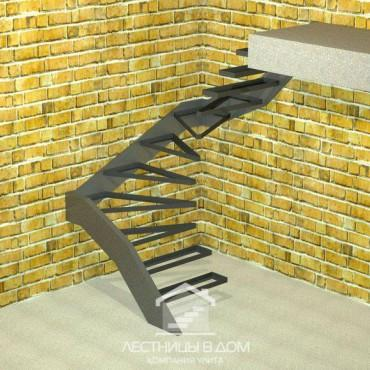 Лестница консольная П-образная с забежными ступенями