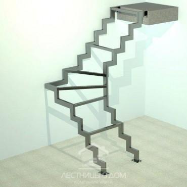 На двух металлических косоурах Г-образная с забежными ступенями