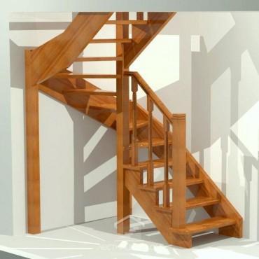 Лестница деревянная П-образная с забежными ступенями