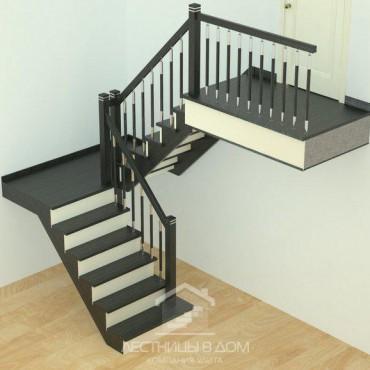 "Лестница ""Модерн"" П-образная, с площадкой на косоурах"